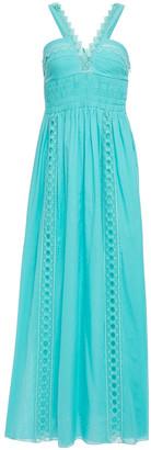 Charo Ruiz Ibiza Crochet-trimmed Shirred Cotton-blend Voile Maxi Dress