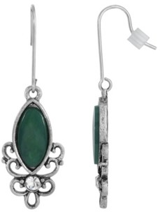 2028 Sterling Silver Wire Genuine Stone Chrysoprase Earrings