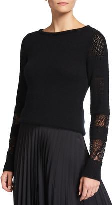 Neiman Marcus Lace Cuff Crewneck Cashmere Sweater