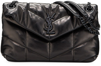 Saint Laurent Lou Small Quilted Lambskin Leather Flap-Top Shoulder Bag, Black Hardware