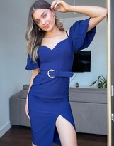Thumbnail for your product : Little Mistress off shoulder puff sleeve belted pencil dress with split in navy