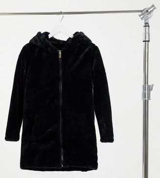 Brave Soul Petite Bernie faux-fur hooded coat
