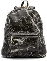 Pink Haley Marble Patterned Faux Leather Backpack