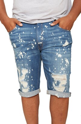 MVP Collections Painted Roll Cuff Denim Shorts