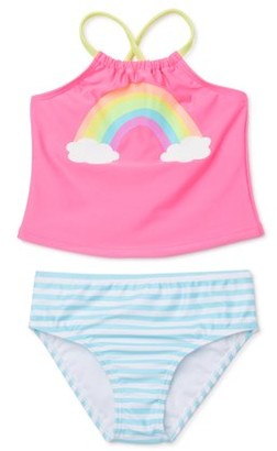 Wonder Nation Baby and Toddler Girls Rainbow Tankini Swimsuit