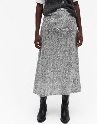 Monki Viola sequin midi skirt in silver