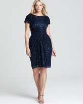 Tadashi Shoji Plus Sequin Dress - Cap Sleeve Gathered Waist