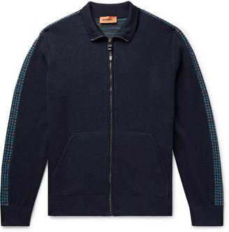 Missoni Intarsia-Trimmed Wool-Blend Zip-Up Sweater