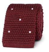 Paul Smith 6cm Polka-dot Knitted Silk Tie - Burgundy