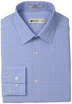Haggar Men's Glen Plaid Point Collar Regular Fit Long Sleeve Dress Shirt