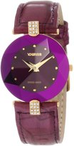 Jowissa Women's J5.015.M Facet Strass Gold PVD Dimensional Glass Leather Rhinestone Watch