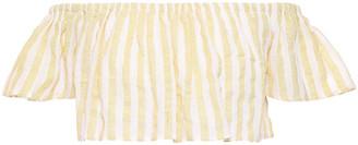 SUNDRESS Jade Cropped Off-the-shoulder Sequin-embellished Gauze Top