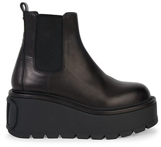Valentino Uniqueform Beatle Leather Platform Ankle Boots