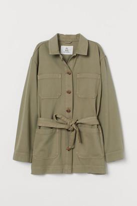 H&M Tie-belt Utility Jacket - Green