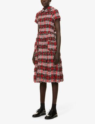 COMME DES GARÇONS GIRL Checked-print wool-blend midi dress