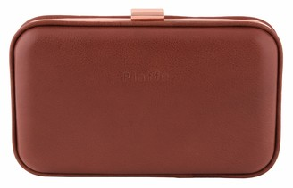 Piaffe Women's structured Gold Frame Clutch with chain strap - Brown