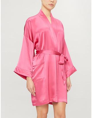 Solange silk-satin short robe