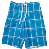 "Ocean Pacific OP & White Plaid Eboard At Knee 22"" Outseam Swim Short Trunks - Large"