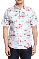 Tommy Bahama Delano Flamingo Cotton & Silk Camp Shirt