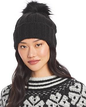 Aqua Faux Fur Pom Pom Knit Hat