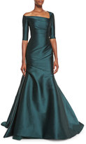 Monique Lhuillier Asymmetric 3/4-Sleeve Trumpet Gown, Forest Green