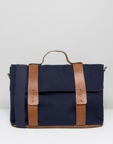 Asos Satchel In Navy Canvas With Contrast Straps