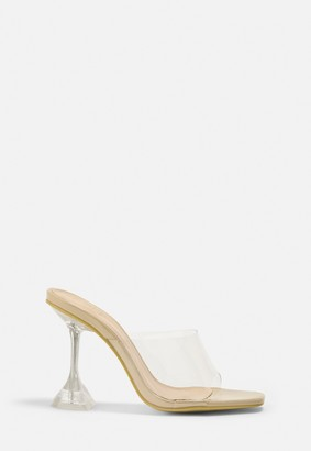 Missguided Nude Satin Diamante Heeled Sandals