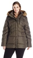 Larry Levine Women's Plus Size Short Hooded Sise Puffer with Flap Pockets