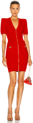 Balmain Short V-Neck Zipped Diamond Knit Dress in Rouge | FWRD