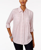 Style&Co. Style & Co Petite Mixed-Print Shirt, Only at Macy's