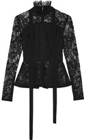 Elie Saab Pussy-bow Pleated Lace Peplum Top - Black