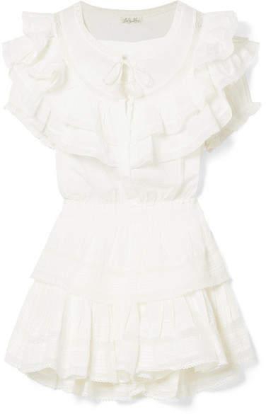 LoveShackFancy Liv Ruffled Crocheted Lace-trimmed Cotton Mini Dress - White