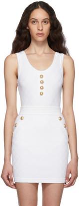 Balmain White Knit Buttoned Bodysuit