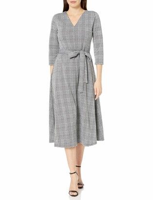 Chaus Women's 3/4 Plaid Tie Waist Dress