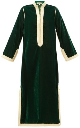 Muzungu Sisters - Alia Woven-trim Velvet Tunic Dress - Green Multi