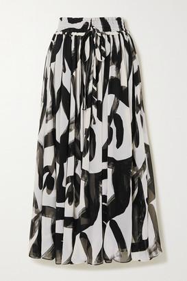 Lee Mathews - Estelle Printed Silk-crepon Maxi Skirt - Black