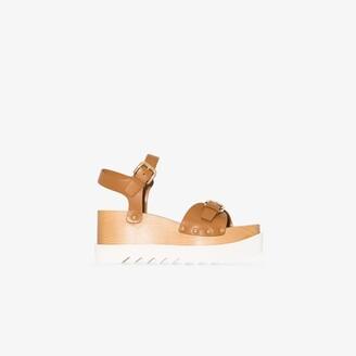 Stella McCartney brown 80 Elyse wedge sandals