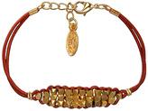 Ettika Stacked Gold Beads Copper Leather Bracelet