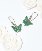 Frankie & Stein Women's Earrings - Teal & Goldtone Patine Butterfly Threader Earrings