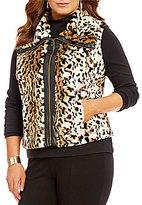 Multiples Plus Front Zipper Faux-Fur Vest