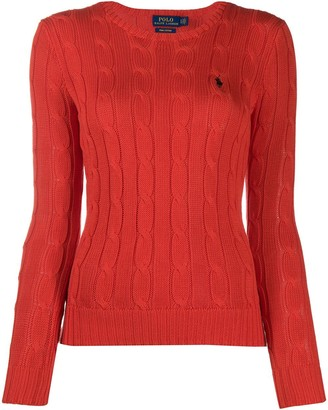Polo Ralph Lauren Embroidered Logo Cable-Knit Top