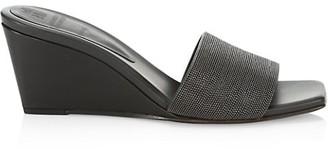 Brunello Cucinelli Monili-Trimmed Leather Wedge Mules