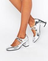 Glamorous Mary Jane Silver Flare Heeled Shoes
