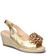 Gold Rosette Flora Leather Espadrille - Women
