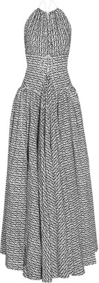 Alaia Open-back Flocked Wool-blend Gown