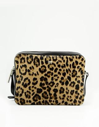 Class Roberto Cavalli Animal Print and Black Leather Shoulder Bag