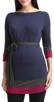 Women's Kimi And Kai 'Aurora' Colorblock Three Quarter Sleeve Maternity Top