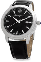 Mark & James by Badgley Mischka Silver & Black Leather-Strap Watch