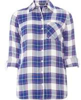 Dorothy Perkins Womens **Tall Blue Brit Pop Check Shirt- Blue