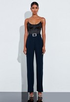 Missguided Navy Pleat Belted Pants